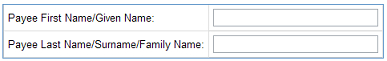 Payee name fields