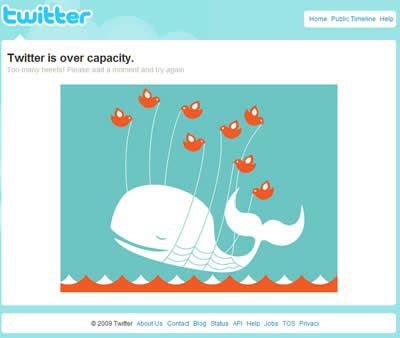 Image of Twitter with it is overloaded